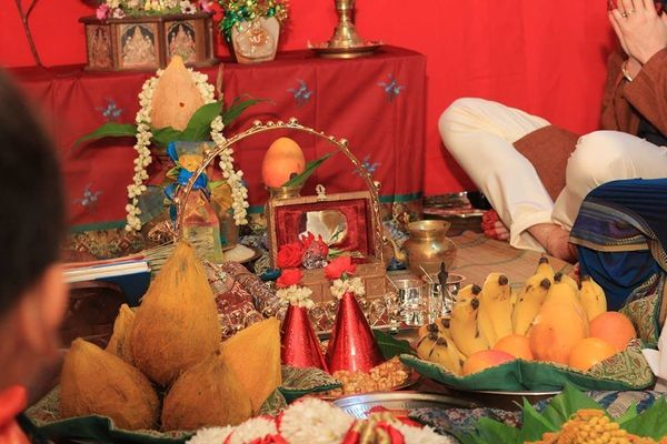 The auspicious Purnakumbha (ritual vessel) as well as offering that will be made and then distributed to the guests as well a