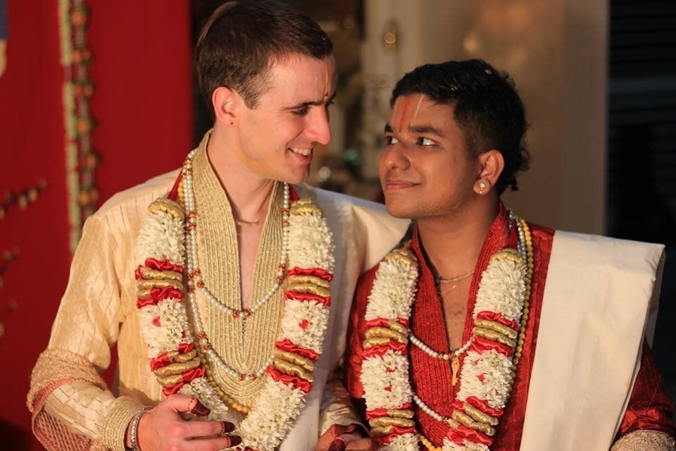 John McCane (left) andSalaphaty Rao at their engagement ceremony in Australia.