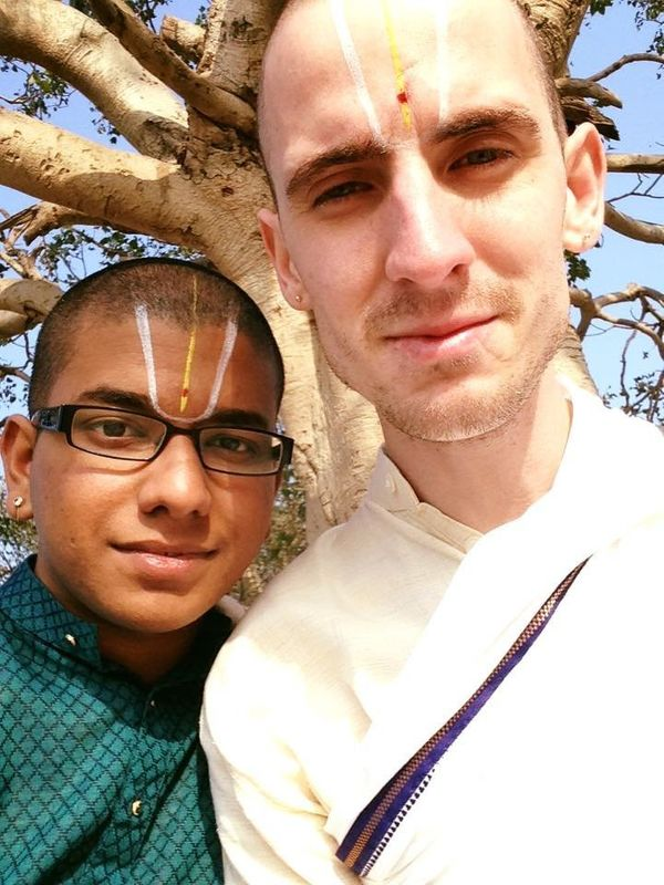 """John McCane andSalaphaty Rao inVrindavan, a holy village in India where the <a href=""""https://www.lonelyplanet.com"""