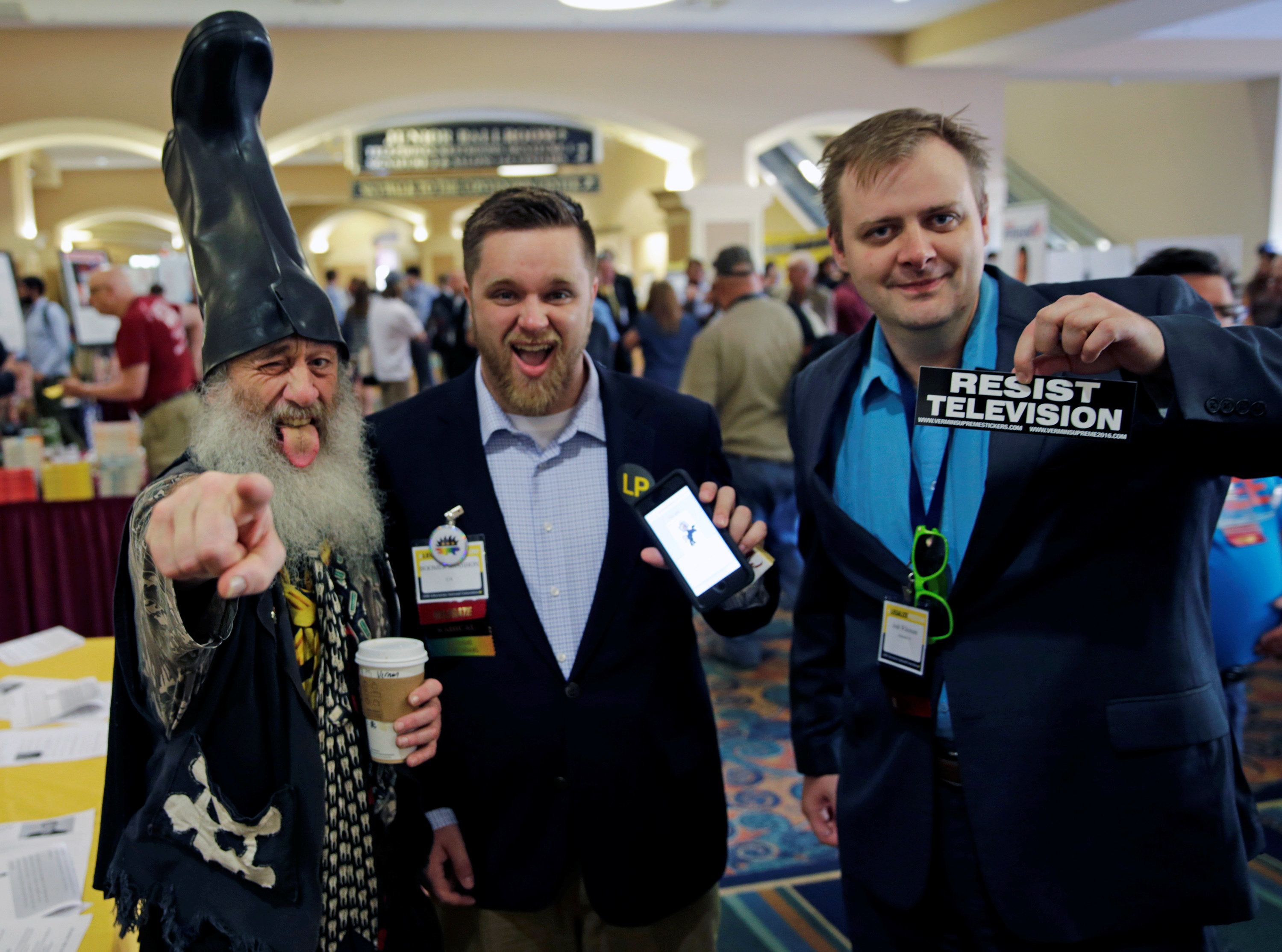 At least, Vermin Supreme (left) and others seemed to enjoy themselves at the Libertarians' convention.
