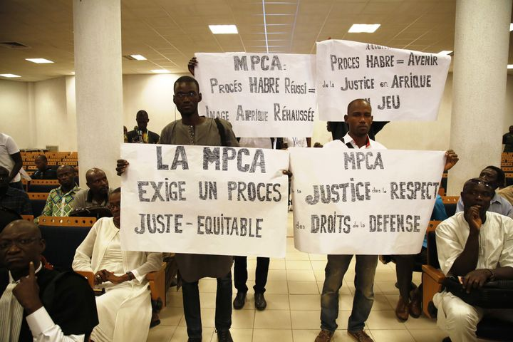 Protesters called for justice at the start of Habré's trial on July 20, 2015.