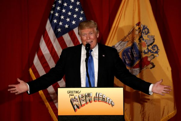 Republican presidential candidate Donald speaks at a fundraising event where he appeared with New Jersey Governor Chris Chris