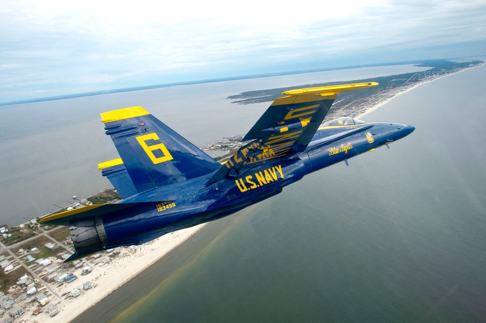 U.S. Navy Flight Demonstration Squadron, the Blue Angels, Opposing Solo Capt. Jeff Kuss prepares to practice the Section High