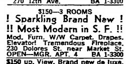 A 1961 listing for an apartment found in the San Francisco Chronicle.