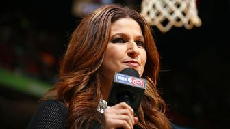 MIAMI, FL - DECEMBER 3:  A close up shot of NBA Analyst, Rachel Nichols during the Oklahoma City Thunder game against the Miami Heat on December 3, 2015 at American Airlines Arena in Miami, Florida. NOTE TO USER: User expressly acknowledges and agrees that, by downloading and or using this Photograph, user is consenting to the terms and conditions of the Getty Images License Agreement. Mandatory Copyright Notice: Copyright 2015 NBAE (Photo by Nathaniel S. Butler/NBAE via Getty Images)