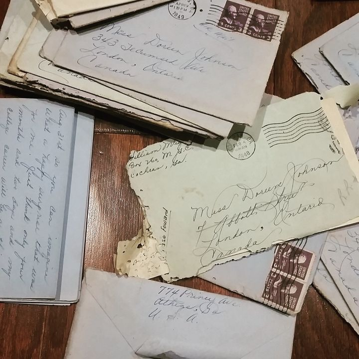 The love letters that were found the the Carters' kitchen cabinet.