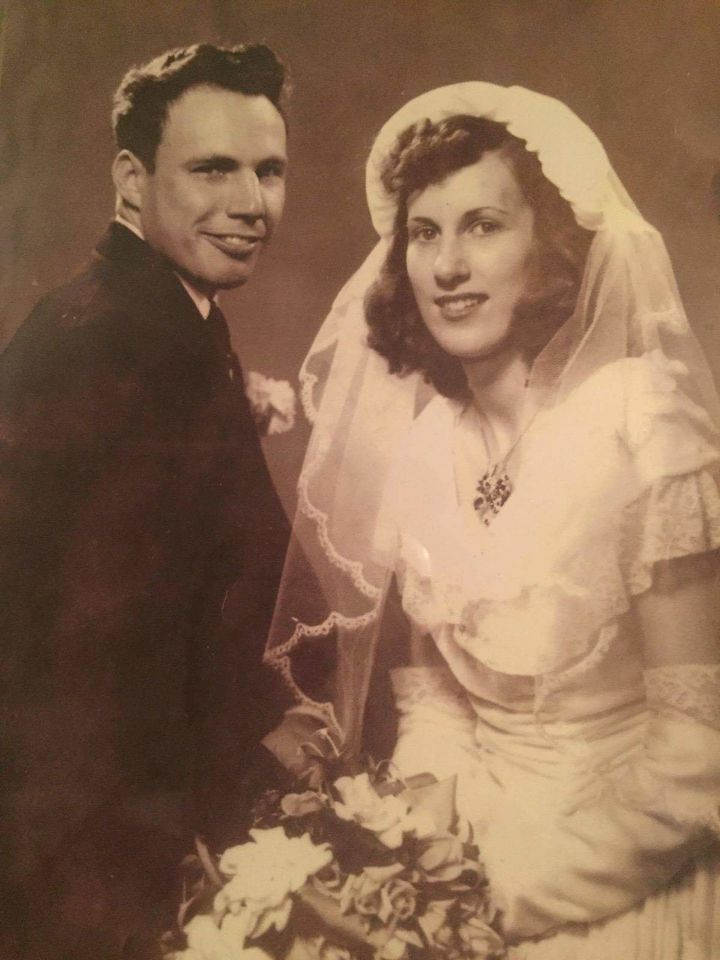 Bud and Doreen Middleton in their wedding attire.