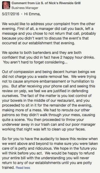 Woman 'Poos In Restaurant', Leaves Bad Yelp Review, War Of Words