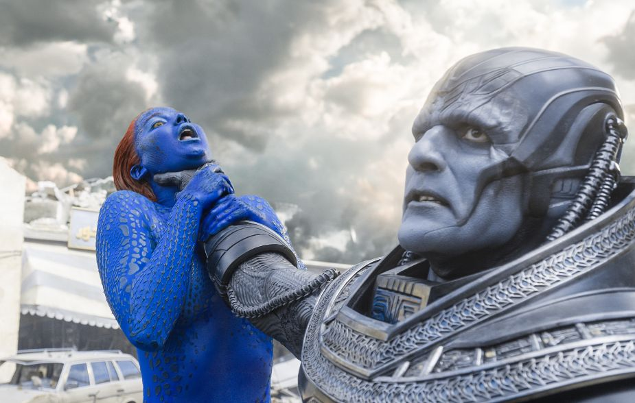 The poster depicts Apocalypse (actor Oscar Isaac) choking Jennifer Lawrence's character
