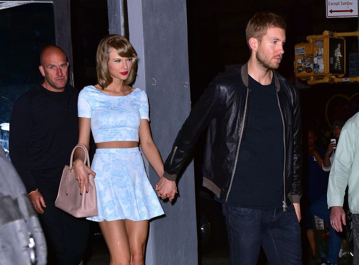 Taylor Swift and Calvin Harris leave L'asso restaurant on May 26, 2015 in New York City.