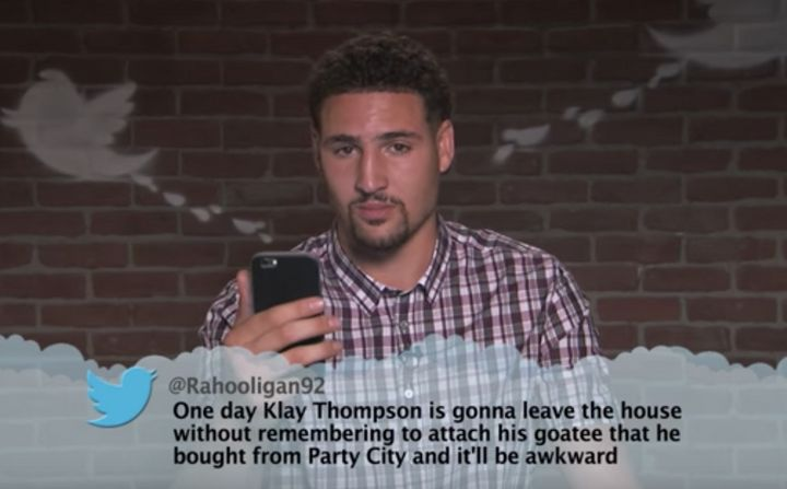 """The jury's out on whether Klay Thompson's beard is cool or not -- tipping dangerously close to""""not.""""<i></i>"""