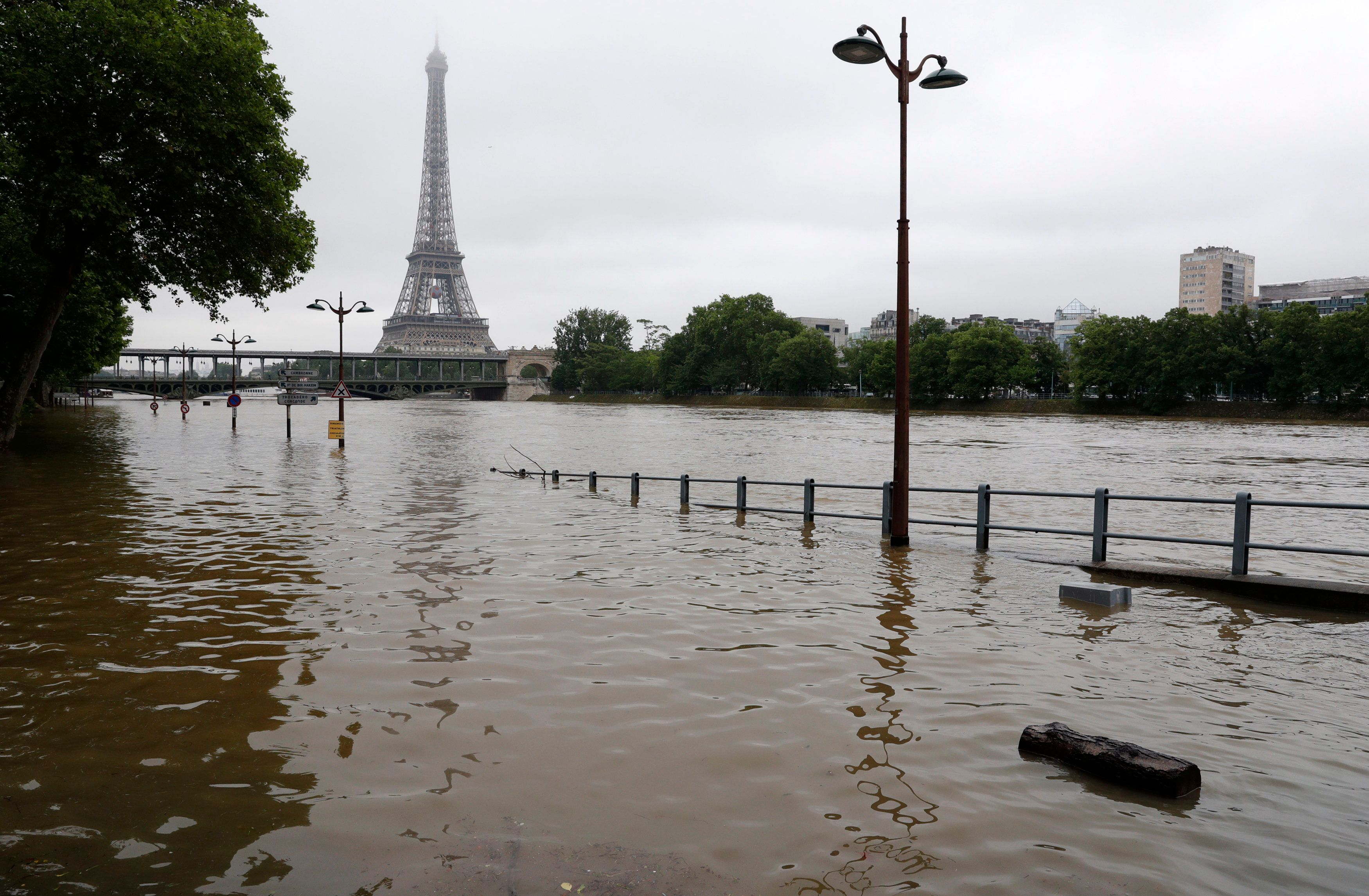 View of the flooded Seine near the Eiffel Tower in Paris onJune 3, 2016, after days of almost nonstop rain.