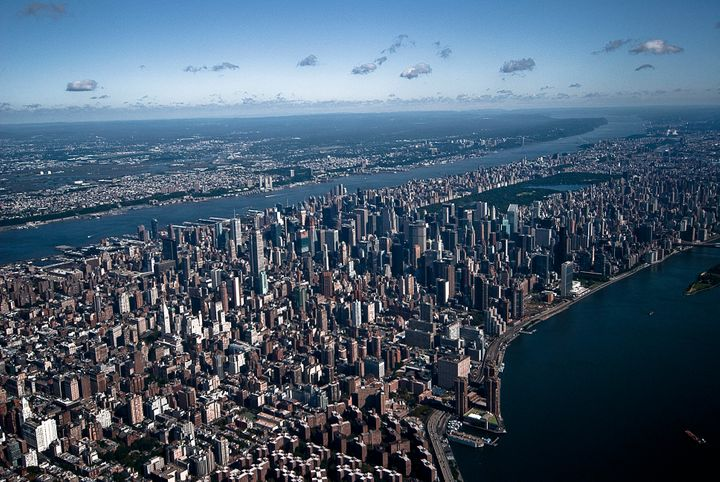 An aerial view of New York City. Current projections suggest that sea levels could increase between 1 and 4 feet by 2100, whi