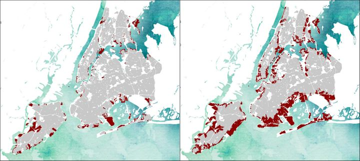 The red shading on maps created by Landscape Metrics show which areasof New York City would be underwater if sea levels