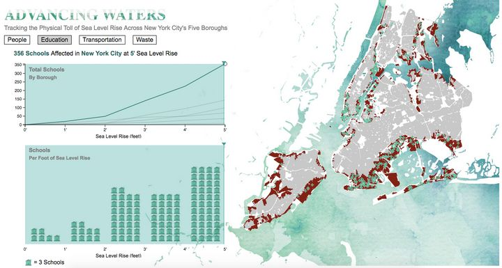 Landscape Metrics wanted to show how rising sea levels would affect New York Cityinstitutions and infrastructure, inclu