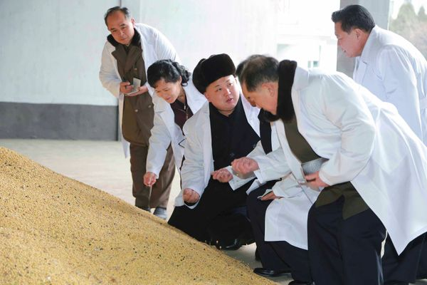North Korean leader Kim Jong Un gives field guidance to the Pyongyang Children's Foodstuff Factory in December of 2014.
