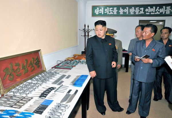 North Korean leader Kim Jong Un visits the Kangdong Precision Machine Plant in July of 2013.
