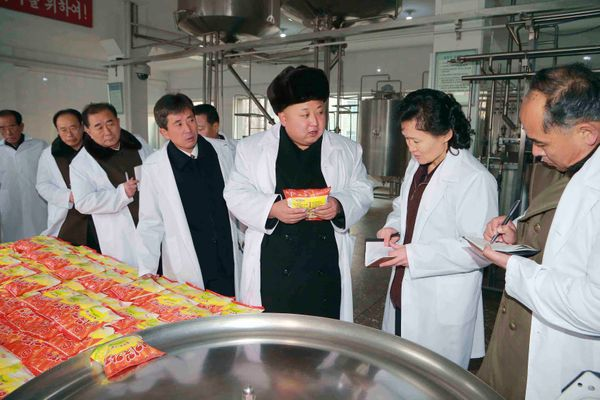 North Korean leader Kim Jong Un gives field guidance to the Pyongyang Children's Foodstuff Factory in June of 2014.