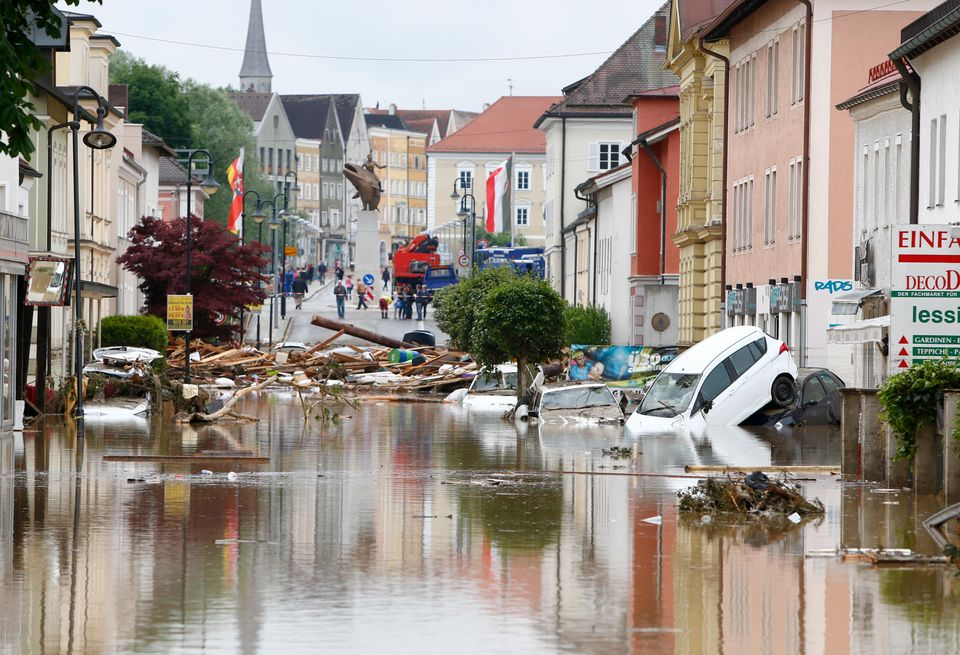 Damage caused byfloods in the Bavarian village of Simbach am Inn, Germany, on June 2,