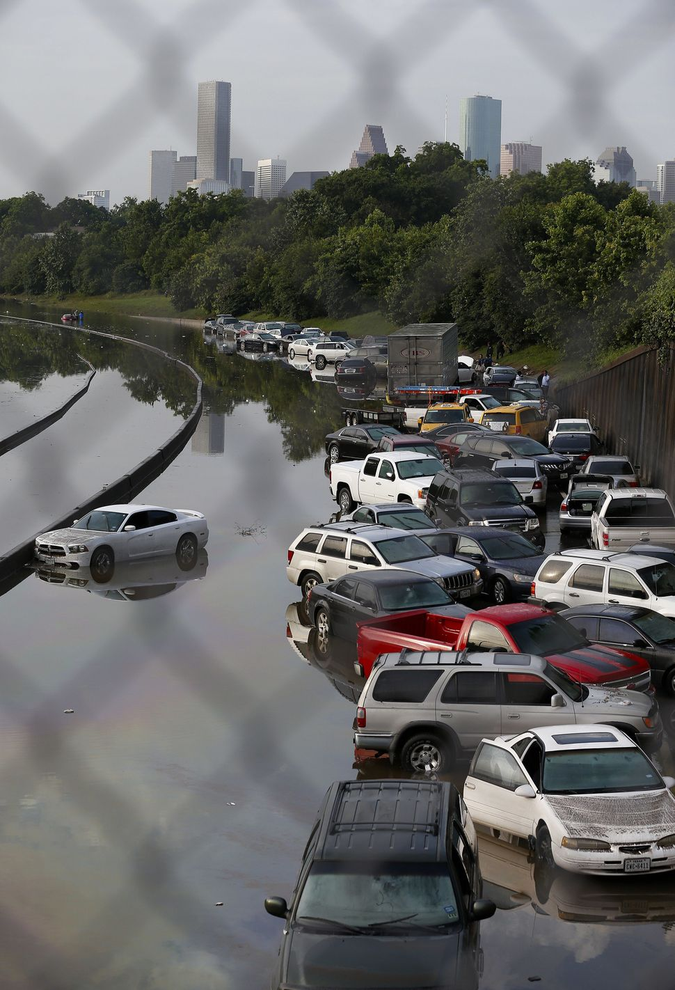 Vehicles stranded on Interstate 45 in Houston on May 26, 2015.