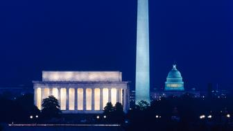 The capital city of the USA is Washington, and at night the major landmarks are lit up. These include the Dome of the Capitol building. The Lincoln memorial building. The Washington memorial obelisk. The Mall.