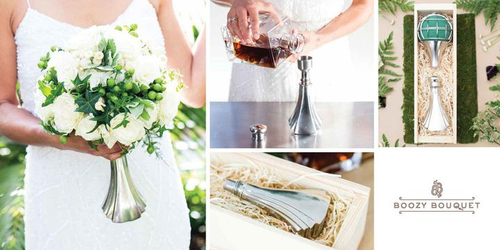 The floral cage contains afoam ball where you can anchor the flower stems and other bouquet materials. The flask, of course, holds the liquor.