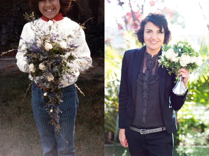 Huerta's mother worked as floral designer when she was growing up. On the left, a young Huerta holds one of her mother's bouquets. On the right, Huerta holding her own creation, the Boozy Bouquet.