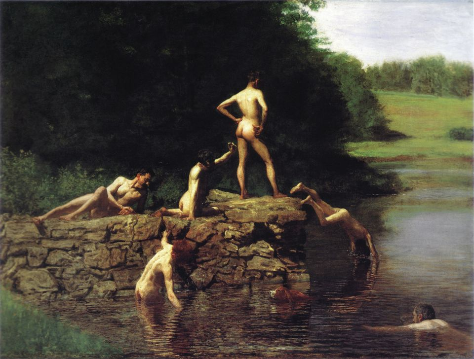 """The Swimming Hole,"" 1885. Thomas Eakins (1844-1916) American realist painter, sculptor and photographer. Men and a dog"