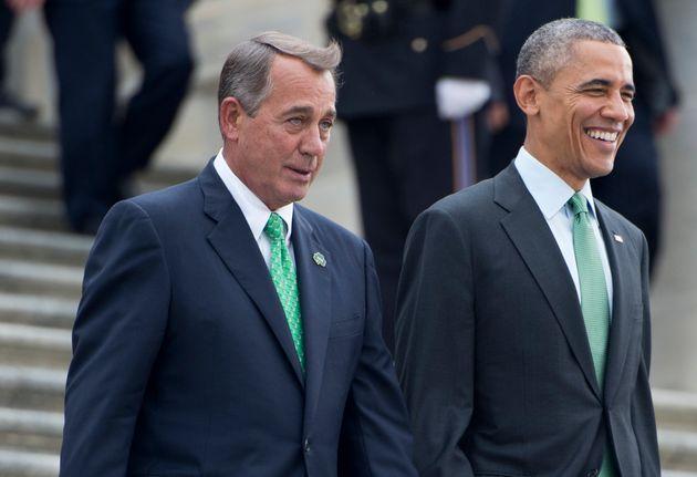 Then-House Speaker John Boehner (R) and President Barack Obama sharing a light moment. Their negotiations...