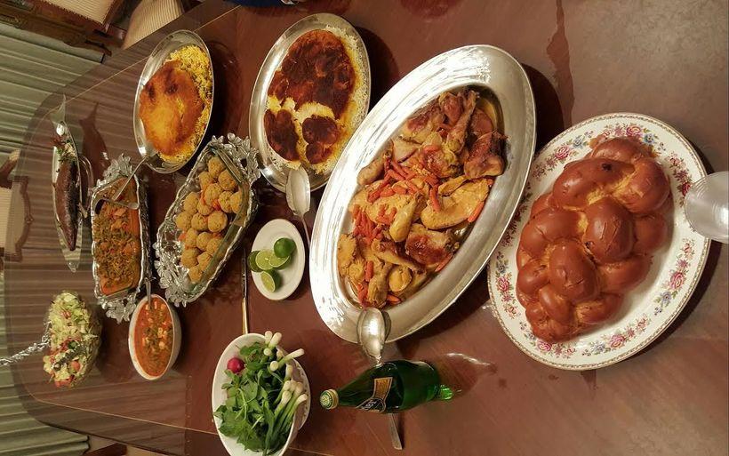 Traditional Persian Jewish Shabbat dinner with Gondi.
