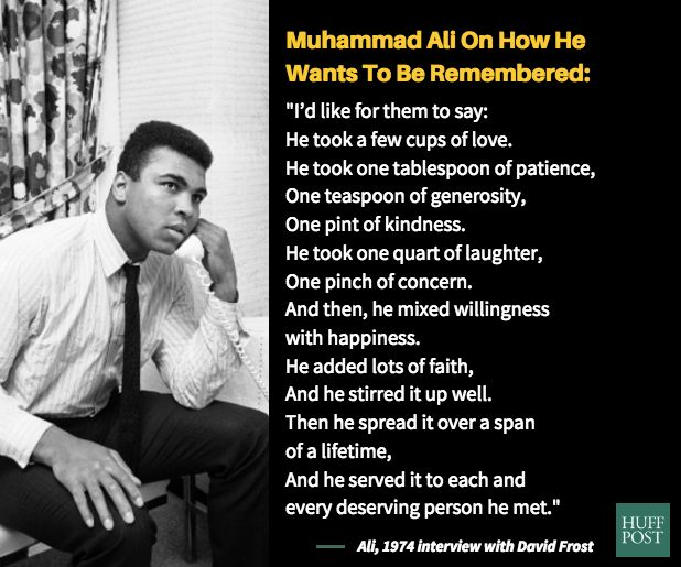 Ali shared this recipe for life in a riveting interview with David Frost in 1974.
