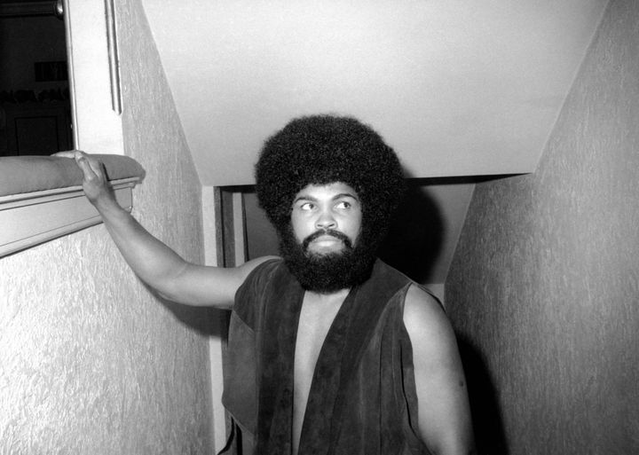 "Muhammad Ali wears a beard and wig for his acting debut in the Broadway musical ""Buck White"" in New York City."