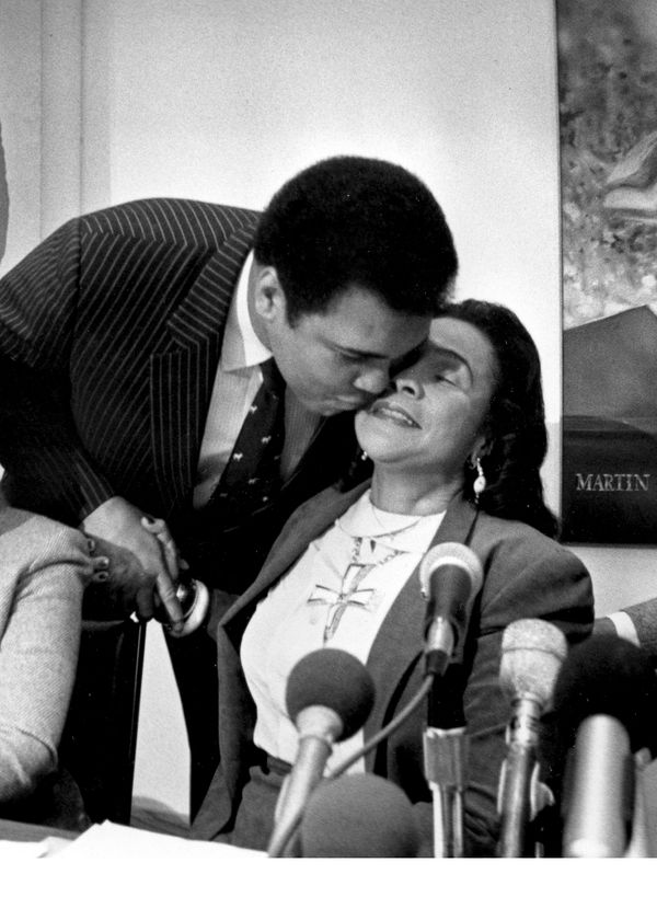 Former world heavyweight boxing champion Muhammad Ali embraces Coretta Scott King, the widow of the Rev. Martin Luther King,
