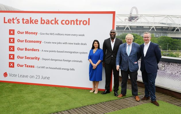 Priti Patel, former England footballer Sol Campbell, Boris Johnson and Michael Gove during at the