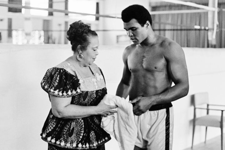 Muhammad Ali with his mother, Odessa Grady Clay, in Kinshasa, Zaire ahead of his championship fight in 1974.