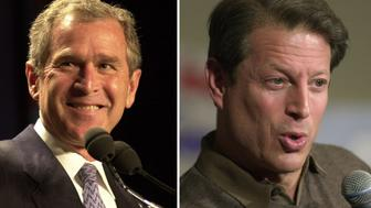 (FILE PHOTO) In this composite image a comparison has been made between former US Presidential Candidates George W. Bush (L) and Al Gore. In 2000 George W. Bush won the presidential election to become the President of the United States. ***LEFT IMAGE***  NEW YORK - MARCH 29: Texas Governor George W. Bush speaks at a Republican fundraiser attended by New York City Mayor Rudolph Giuliani and Gov. George Pataki at the Hilton in New York City, March 29, 2000. The event raised $500,000 for the Bush campaign. (Photo by Chris Hondros) ***RIGHT IMAGE*** NEW YORK - FEBRUARY 14:  Vice President Al Gore makes a point during an appearance at Medgar Evers College in Brooklyn, New York, February 14, 2000. Gore spoke on educational funding issues in his speech to students and faculty. (Photo by Chris Hondros)