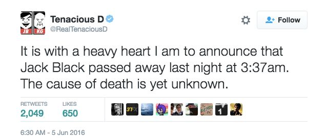 Rumors of Jack Black's death began circulating on social media Sundayafter his band's Twitter account was hacked.