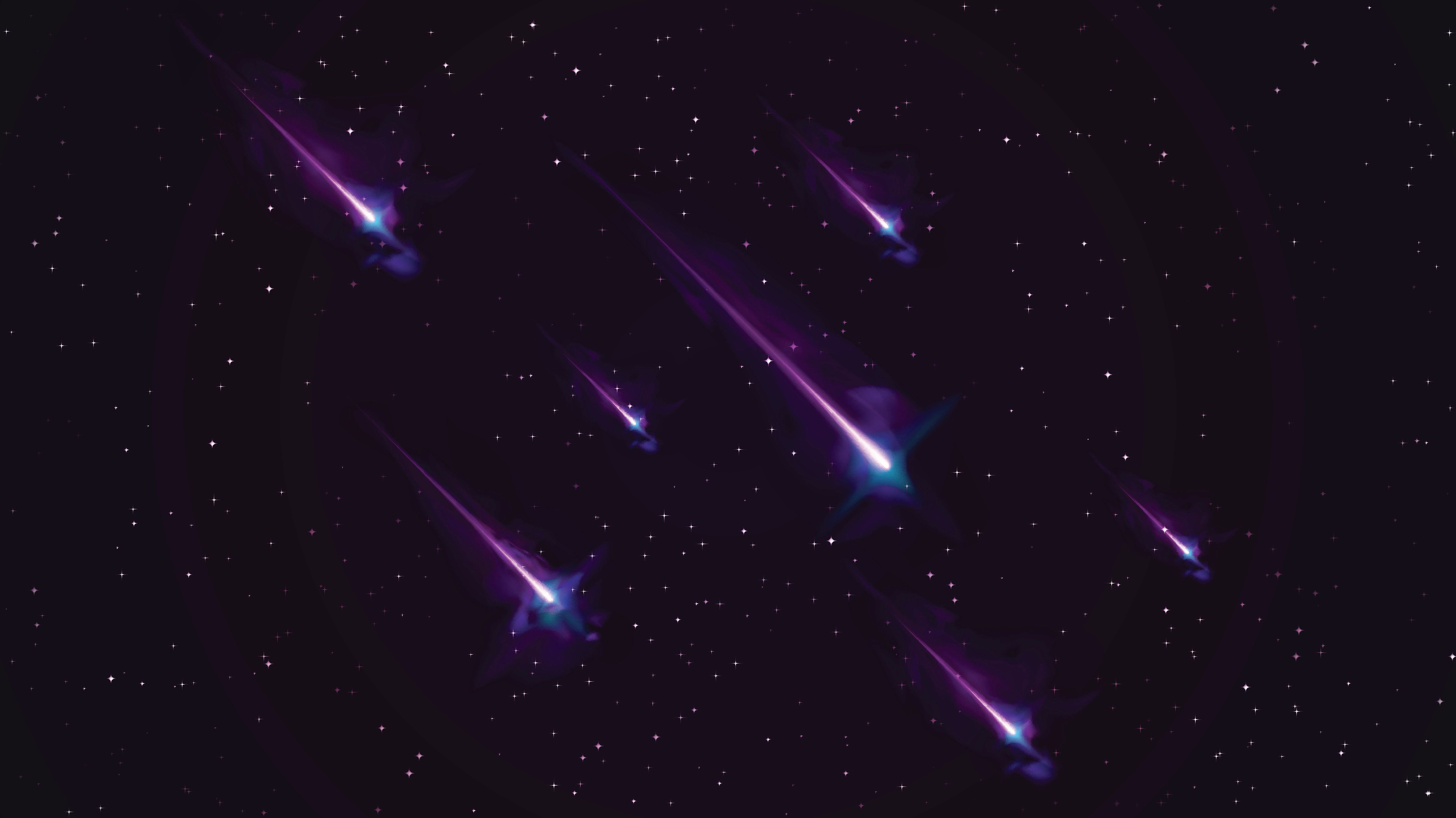 This stock vector illustration features space with shooting stars. It is a combination of small far stars with cross light refractions incorporating bright colors, including vibrant blues and purples. The use of reflection and tone portrays a sense of depth. The image has a dark colorful tone. Image includes a standard license along with the option of upgradeable extended license.