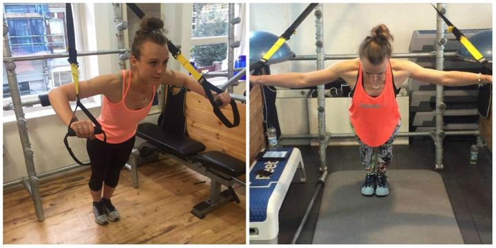 Left: me on my first ever TRX session. Right: me mastering the TRX rollout on my final session.
