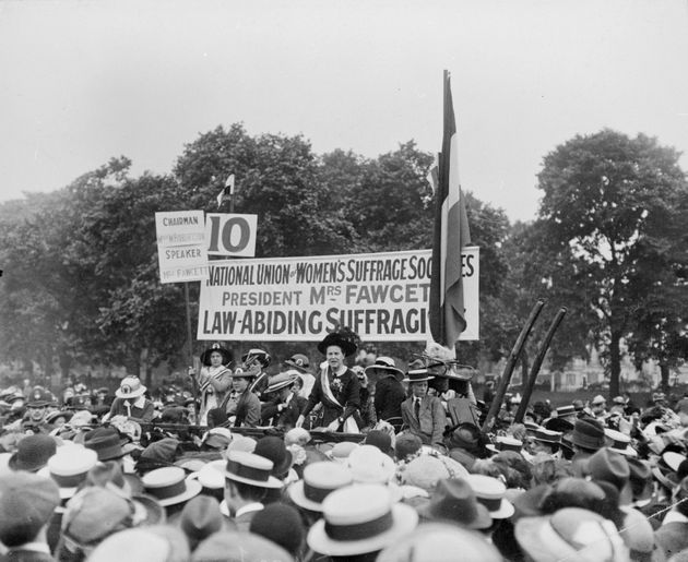 Fawcett addresses a rally in Hyde