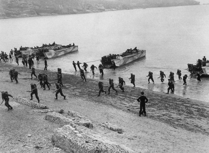 1943: Troops coming ashore during training exercises for the Allied D-Day invasion.