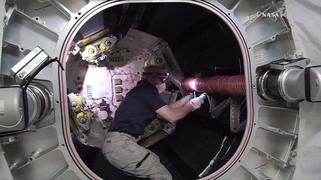 NASA Astronaut Takes First Steps Inside Inflatable Habitat Attached To The