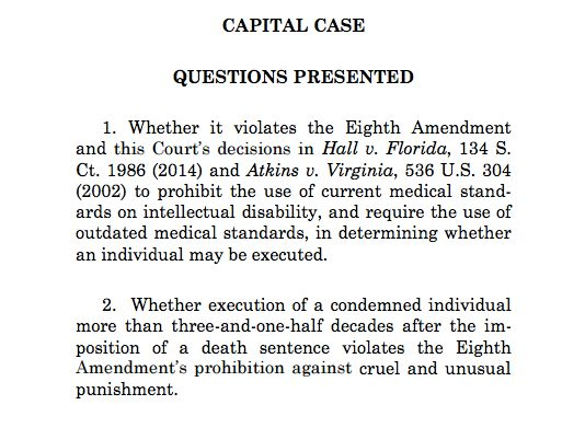 A Texas death row inmate who wanted his case heard by the Supreme Courtraised two important questions.