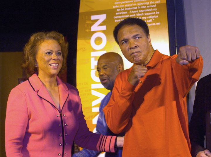 Boxing great Muhammad Ali and his wife Lonnie pose for pictures during a preview tour at the Muhammad Ali Center in Louisvill