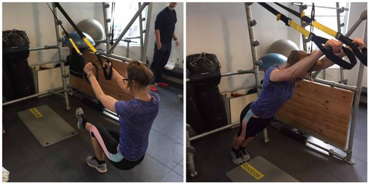 Left: TRX single-legged squat. Right: TRX rollout.
