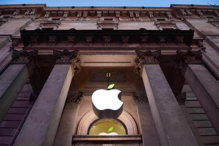 The Apple Store logo leaf is turned green on Earth Day 2015 in Glasgow, Scotland.