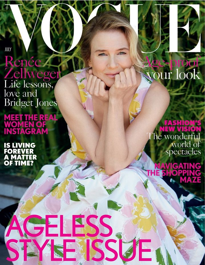 Renée Zellweger on the cover of Vogue UK's July 2016 issue.