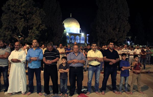"JERUSALEM -JUNE 5: Muslims perform the first ""Tarawih"" prayer on the eve of the Islamic holy month of Ramadan at the Al-Aqsa"