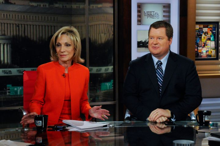 """Conservative pundit Erick Erickson, right, continues to call out Donald Trump. Here, he appears on """"Meet the Press"""" with&nbsp"""