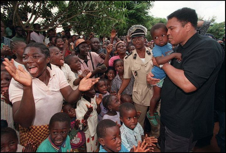"As a part of his ""goodwill tour,"" Ali gave generously to people in the Ivory Coast."